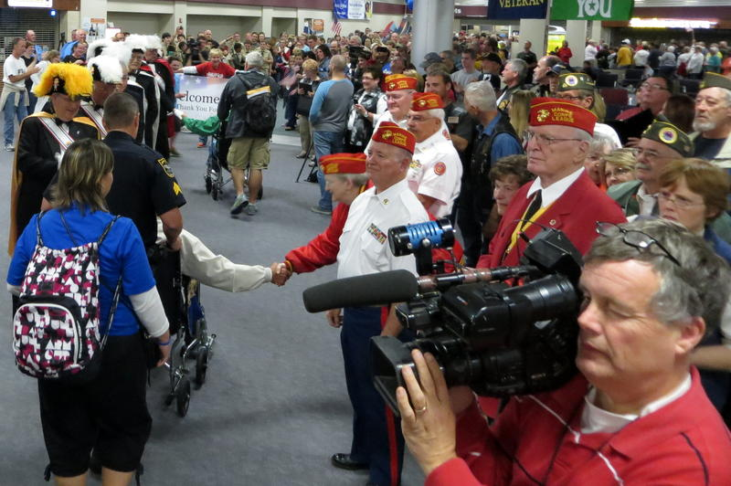 Hundreds welcomed back home the veterans at the Eastern Iowa Airport in Cedar Rapids