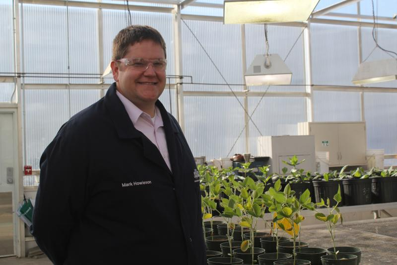 Mark Howieson says this greenhouse at BASF in Ames, Iowa is one step in the development pipeline for biologically-based products to enhance farming.