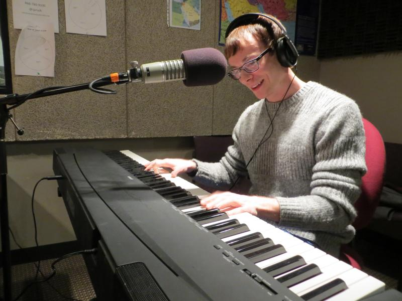 Piano-player Chase Garrett in Iowa Public Radio's Iowa City studio.