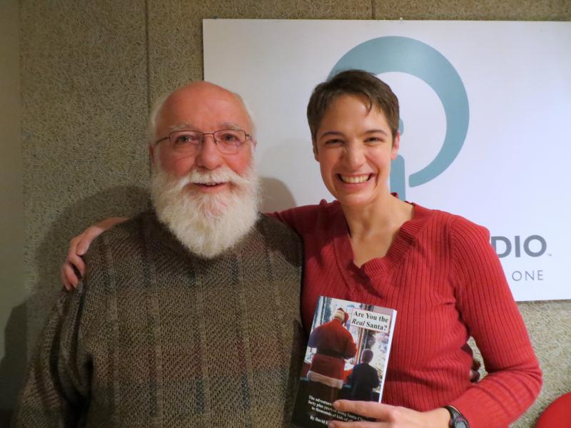Santa's Helper Dave Stoufer and Charity Nebbe in the studio