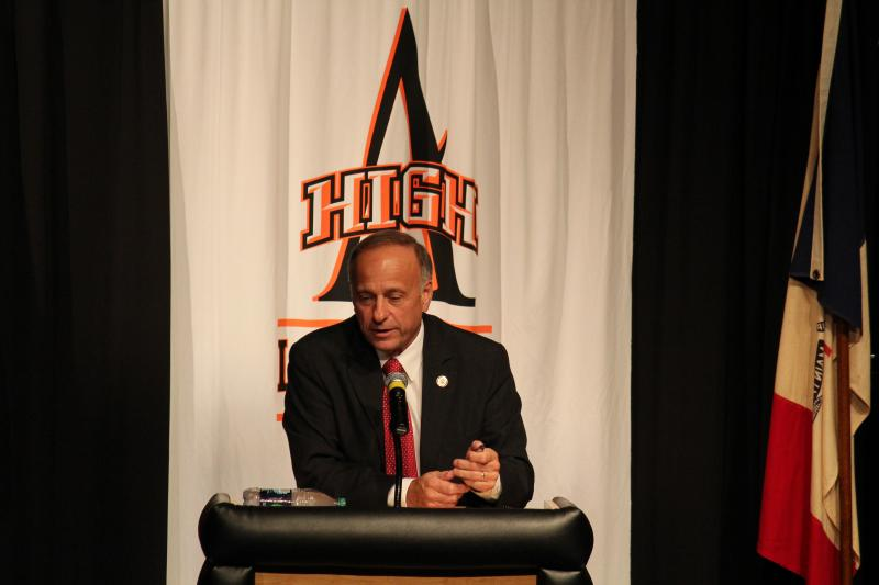 Rep. Steve King (R-Kiron), pictured on the campaign trail at Ames High School in 2012, serves on the farm bill conference committee. He says there was a sincere effort to reach a deal in 2013 on the massive policy package.