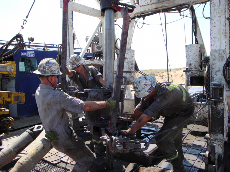 Roughnecks working on a drilling rig in Greeley, Colorado in 2008.