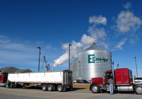 E Energy in Adams, Neb., takes in corn from local farms to make 65 million gallons of ethanol each year. The company also makes distillers grains for livestock feed; corn oil, which can be made into biodiesel; and CO2 for soft drinks.