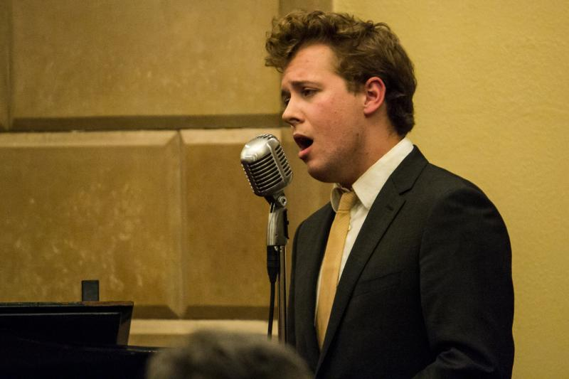 """Max Wellman records jazz standards in a Des Moines venue for his 2014 monthly subscription service of music titled """"The Songbook Project""""."""