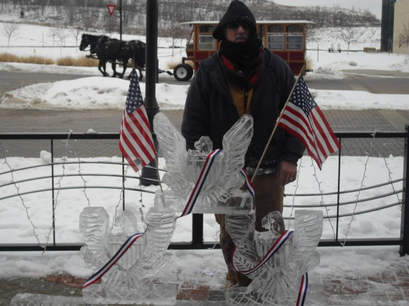 Ice sculptor Ron Hall at the 2011 Amana Winterfest
