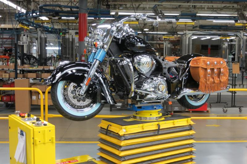 A 2014 Indian moves through the Polaris assembly line in Spirit Lake.
