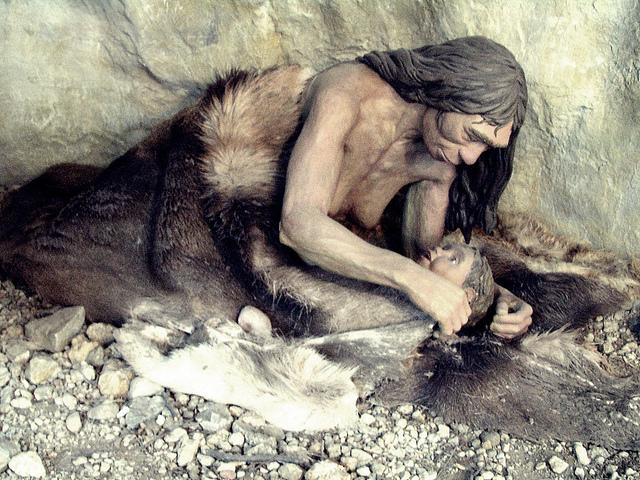 Neanderthal Mother (detail of diorama) in Anthropos Pavilion, Brno, Czech Republic