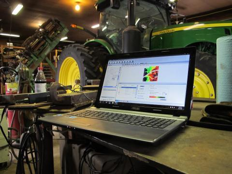 This laptop is an essential tool on Dave Beck's farm. He uses it to design maps to apply different doses of seed, water, and fertilizer on his fields.