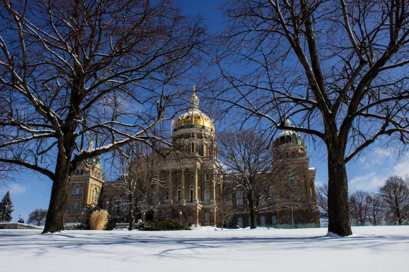 Iowa's Capitol on a snowy morning