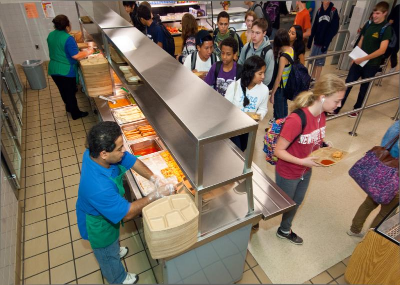 Free and reduced lunch being served as part of the National School Lunch Program, a federally assisted meal program administered by the U.S. Department of Agriculture, Food and Nutrition Service to provide food and nutrition to students living in poverty.