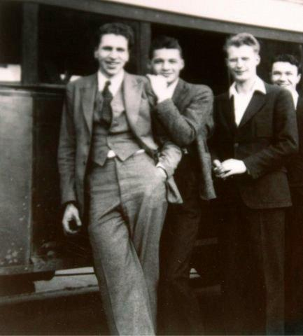 Host Charity Nebbe's grandfather, Carl Nebbe (far left), from 1934 when he was on the road with his dance band, The Carl Nebbe Orchestra from Ogden Iowa. He was the leader and tenor sax man