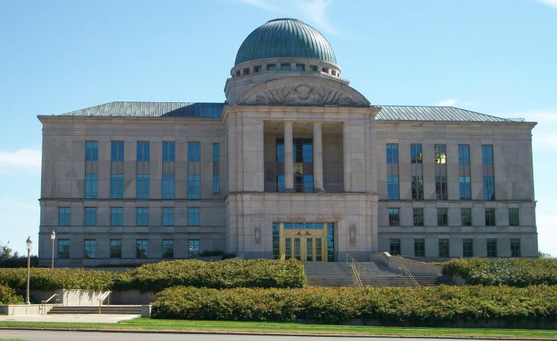 The Iowa Judicial Branch Building in Des Moines, Iowa.