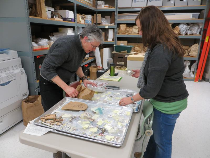 Project Lead Melody Pope (left) and Educaction Director Elizabeth Reetz sift through recent finds at the Office of the State Archaeologist.