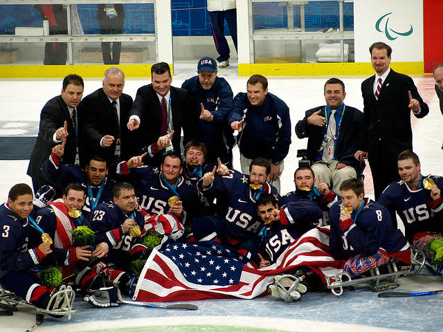 The 2010 Gold Medal USA Sled Hockey team.  Andy Yohe is second from the bottom left.