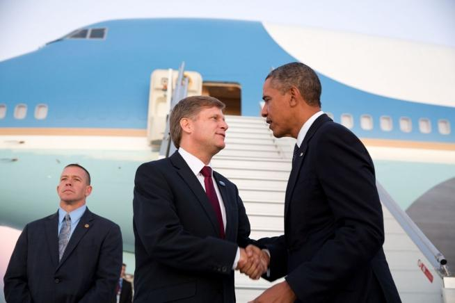 U.S. Ambassador to the Russian Federation Michael McFaul greets President Obama