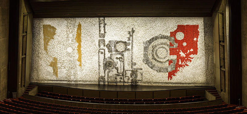 "C.Y. Stephens Auditorium's famous ""Silver Code"" curtain."