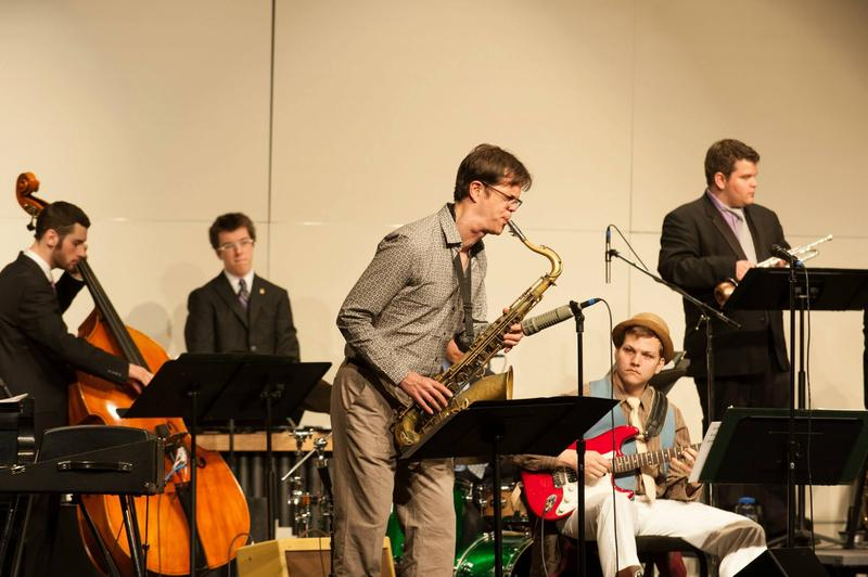 2013 SDIJ guest artist Donny McCaslin solos with the UNI Jazz Band One at the Sinfonian Dimensions in Jazz Concert.