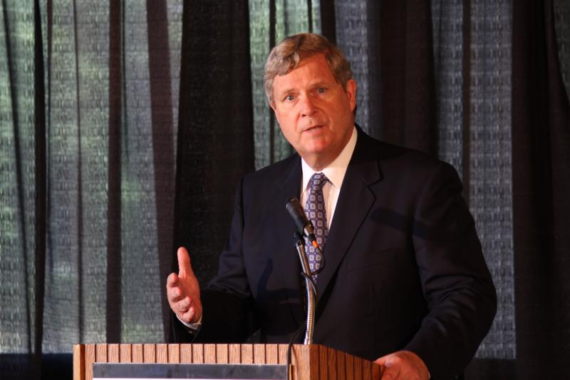 U. S. Agriculture Secretary Tom Vilsack, shown here speaking in Ames last summer, is urging patience on a trans-Pacific trade deal.