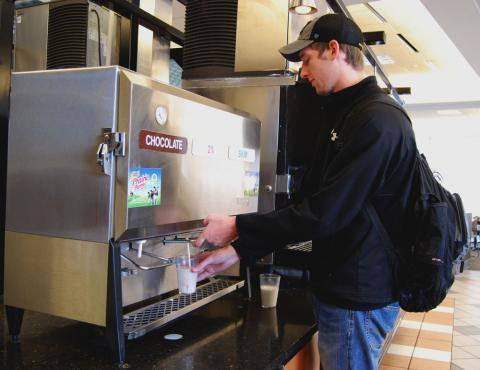 "Milk is an extremely popular item on the University of Missouri campus, says purchasing coordinator Sandy Perley. ""Our entire campus in a year drinks about 96,000 gallons of milk. And by our best calculation, that's about 326 gallons a day."""
