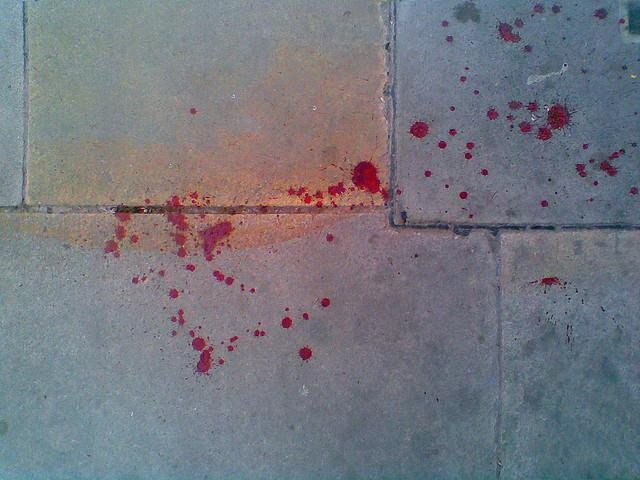 Blood spattered on pavements in London, March 27, 2010.