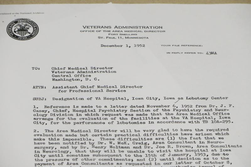 This 1952 document urgently seeks a lobotomy program at the Iowa City VA.