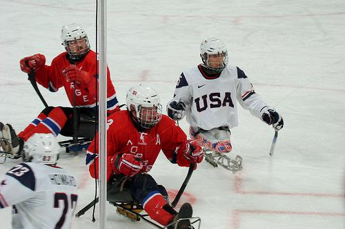 The US-Norway ice sledge hockey semi-final, March 18, 2010.