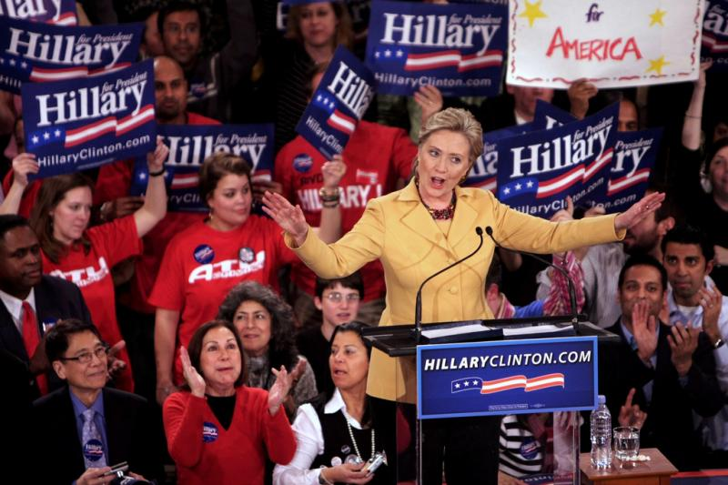 Hillary Rodham Clinton delivering her victory speech at the Manhattan Center Studios, following the New York 2008 primary