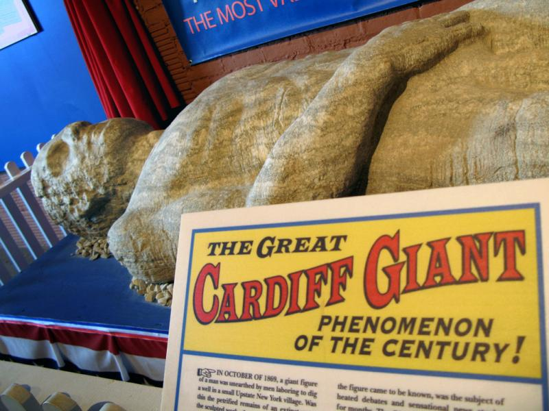 The Cardiff Giant on display
