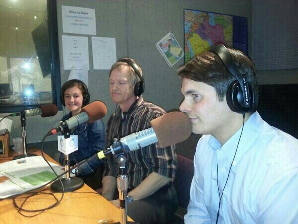 (from left) Kinzie Farmer, Kelly Cole, and Shawn Cornally in the IPR studios