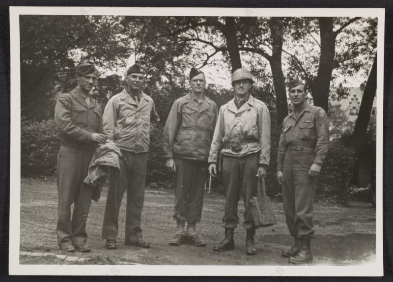 Walker Hancock, Lamont Moore, George Stout and two unidentified soldiers in Marburg, Germany, 1945 June.