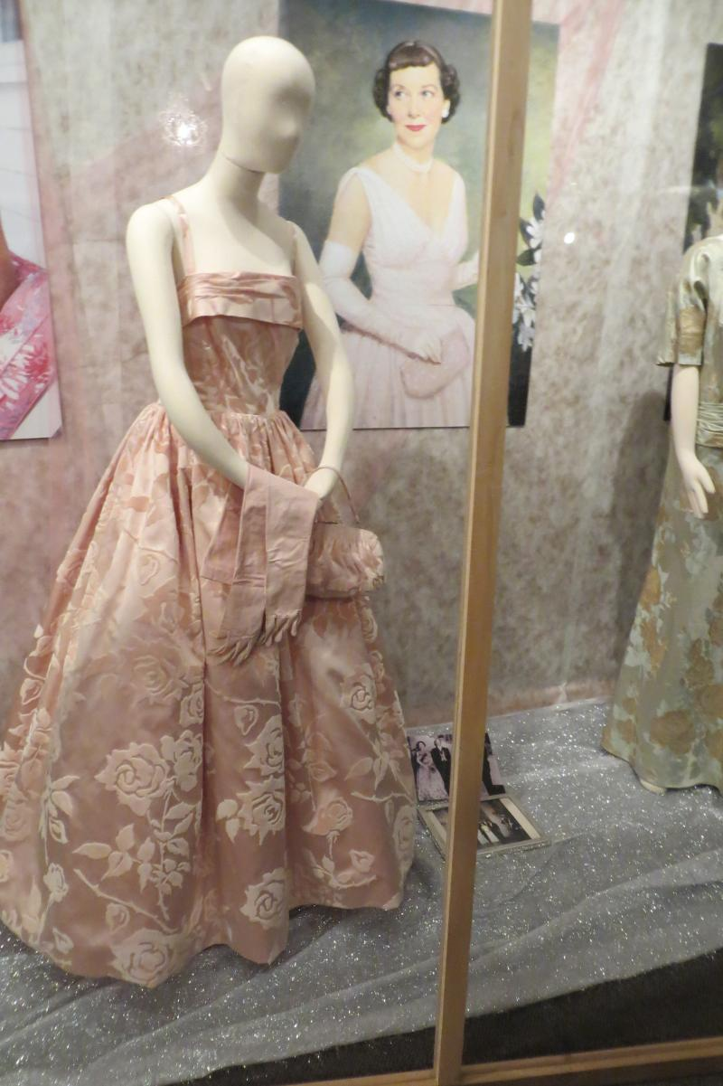 The ball gown Iowa-born First Lady Mamie Eisenhower wore at a formal dinner with Queen Elizabeth II and Price Albert.