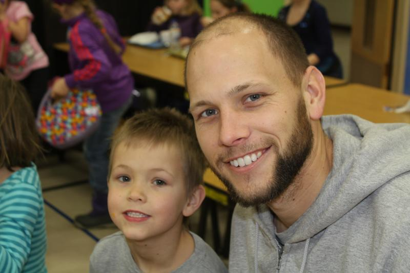 Kyle Fye says his son, Caleb, a first-grader at John Cline elementary school in Decorah, has been eating more adventurously since he started getting hot lunch at school.