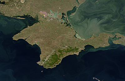 Satellite image of Crimea.