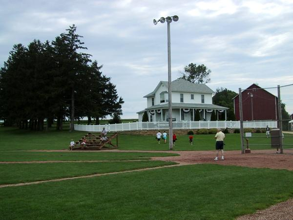 "The Kinsella farmhouse from the set of the 1989 Academy Award nominated film ""Field of Dreams.""  Roughly  7,000 tourists visit every year."