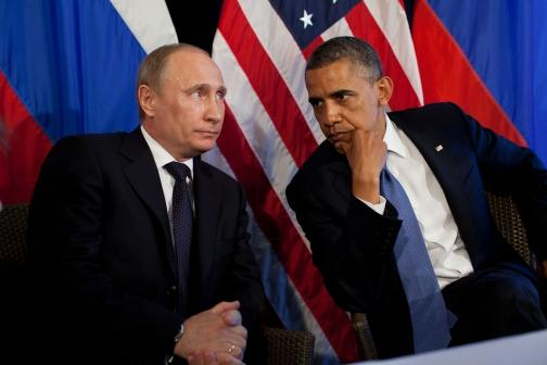 U.S. President Obama and Russian President Vladimir Putin at a bilateral meeting in 2012