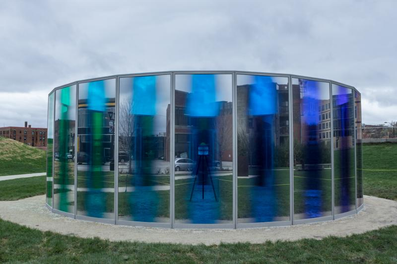 """panoramic awareness pavilion"" by Olafur Eliasson in the Pappajohn Sculture park, downtown Des Moines."
