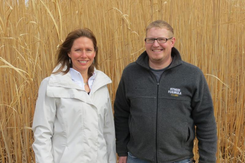 Agronomist Emily Heaton and scientist Nick Boersma are researching miscanthus at ISU.