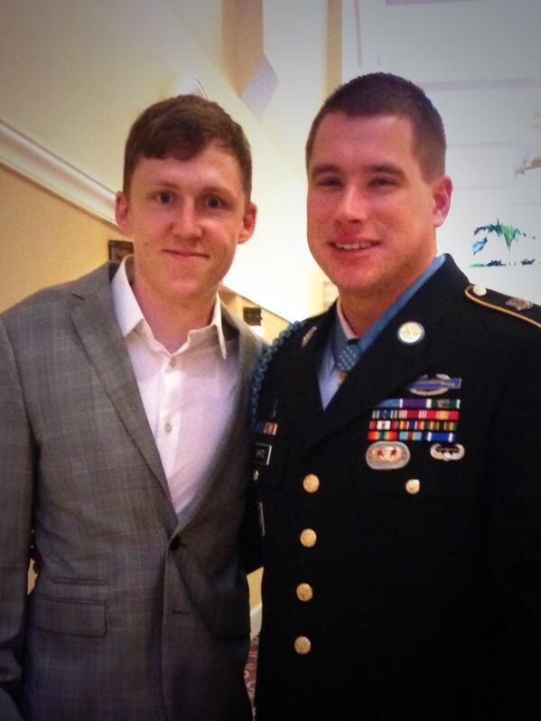 Kain Schilling with his friend and Medal of Honor recepient Kyle White