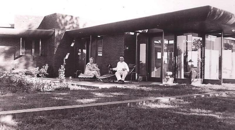 Lowell and Agnes Walter relax on the terrace of their beautiful Frank Lloyd Wright estate in 1950.