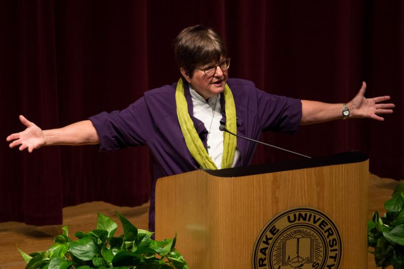 "Sister Helen Prejean speaks during a lecture at Drake University, May 2014. Her work with death row inmates is the basis for the opera ""Dead Man Walking"", which is being presented by the Des Moines Metro Opera's summer 2014 season."