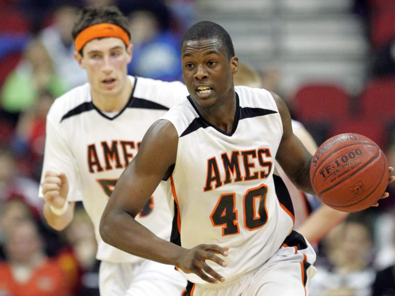 Ames' Harrison Barnes brings the ball up court against Cedar Rapids Washington at the boys State Basketball Tournament Wednesday at Wells Fargo Arena.