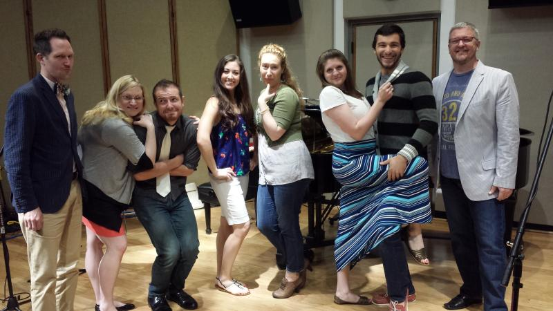 Cast members of the Cedar Rapids Opera Theatre swing by Studio One: (from L to R) pianist Tony Nickle, Lauren Henderson-Turner, Arthur Beutel, Jessica Pray, Robin Bradley, Heather Youngquist, Daniel Lopez, and director John Hollins.