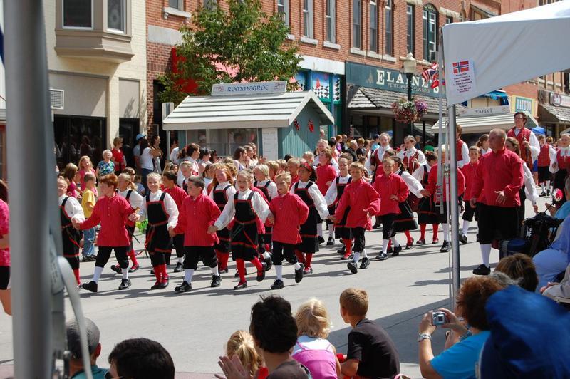 "Decorah's junior ""Nordic Dancers"" taking part in the Grand Parade at Nordic Fest"