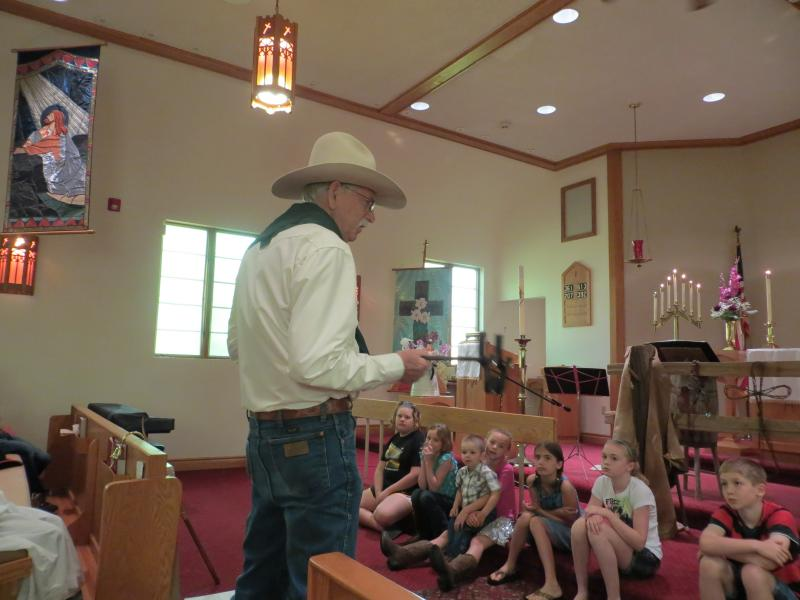 Jim Meyer conducts a children's sermon