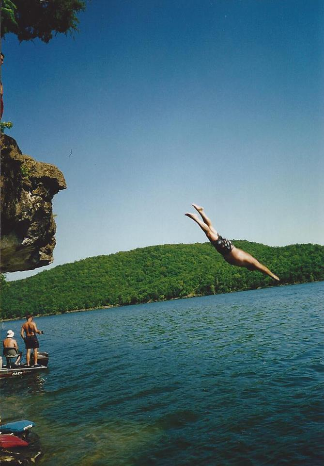 Tony Baranowksi's dad cliff diving at Table Rock Lake