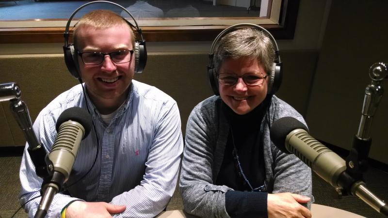 Christine Schrage and Joe Noonan at the KUNI studios in Cedar Falls.