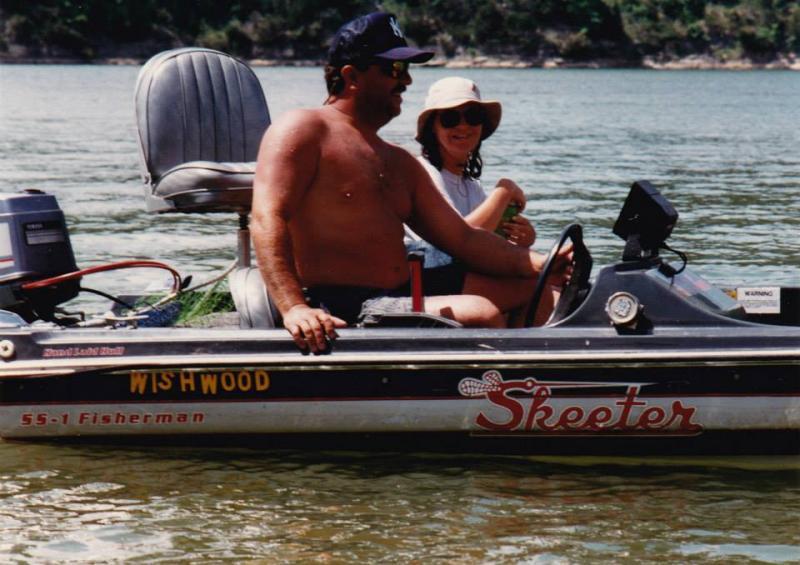Tony Baranowksi II and wife Stacy Baranowski in the boat on Table Rock Lake