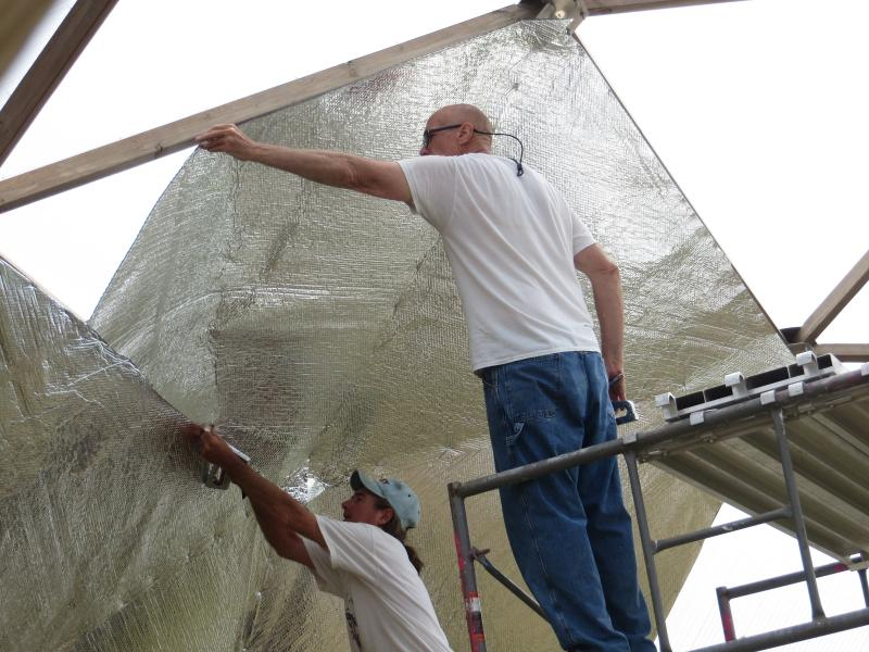 Reflective insulation keeps heat in during the winter, and ventilation keeps the dome from getting too hot in the summer.