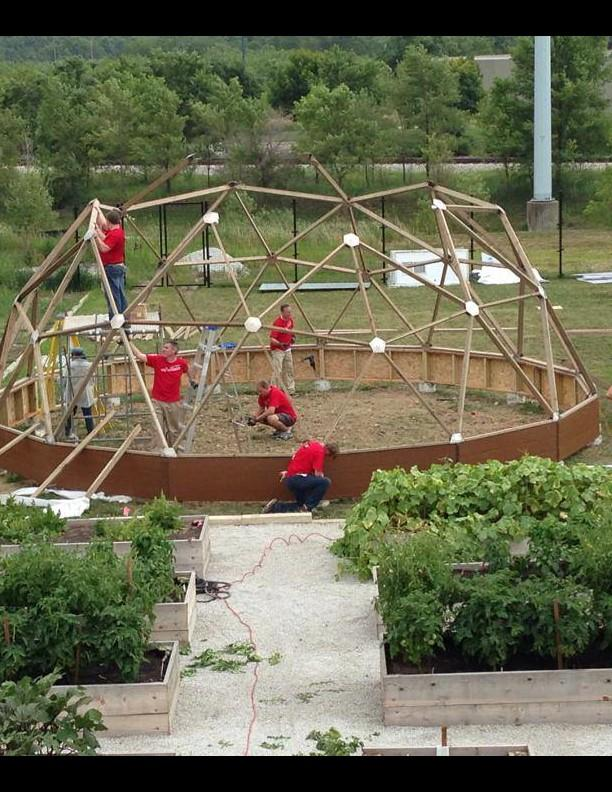 Volunteers begin work on the 'Food Dome' at Central Iowa Shelter and Services.