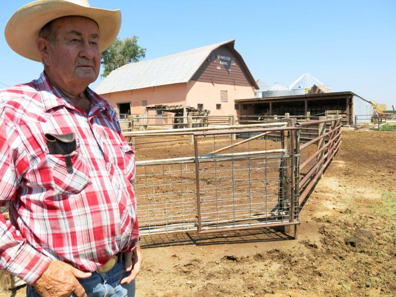 Farmer John Schweiser, 80, has had to take shelter from recent dust storms.